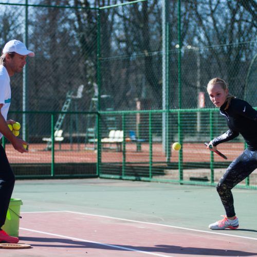 Tennis Coach Nick Horvat and Tennis Player Donna Vekic Training in Osijek, Croatia for ATP Tournaments in Indian Wells and Miami, USA